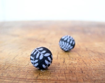 Charcoal & Branch Fabric Button Stud Earring