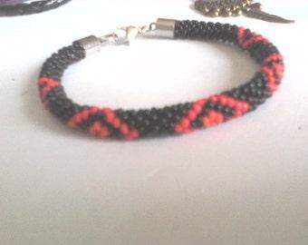 Bracelet peyote handmade beads miuky  black, orange, red / stainless steel