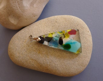 Asymmetrical triangular pendant multicoloured fused glass