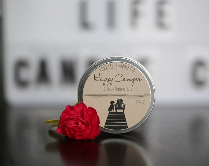 Travel Tin Handmade Soy Candle: Lake Life Candle Co. Made in WI