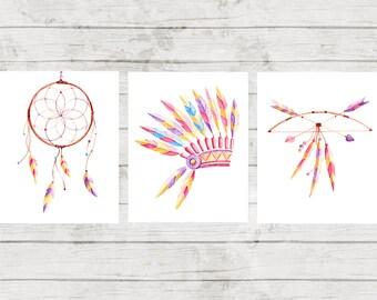 Tribal Nursery Print Set Tribal Printable Set Tribal Girls Nursery Decor Arrows Print Dreamcatcher printable Indian Decor Tribal Wall Art