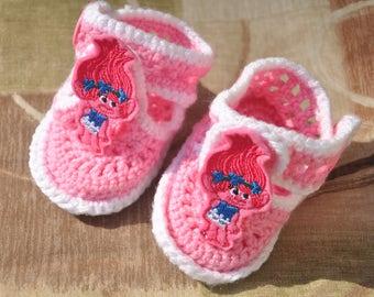 Pink Poppy Crochet baby booties -Sandles /ballerina