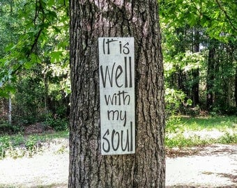 It is Well With My Soul Distressed Wood Sign, pallet sign, Inspirational Wall, Motivational Hymn, Scripture Sign, Bible Verse, rustic decor
