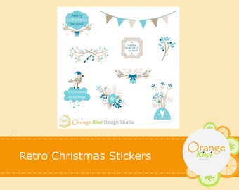 Christmas Planner Stickers, Winter Planner Stickers, Retro Christmas Stickers