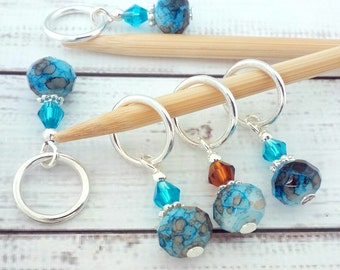 blue & brown mottled abstract stitch markers - knitting or crochet - beaded place holders