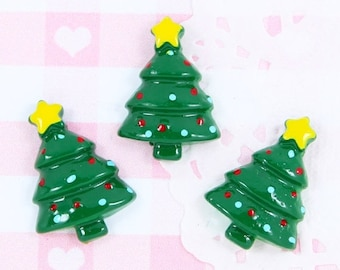 10% OFF SALE 6 x Cute Christmas Tree Flatback Cabochon Embellishment Kawaii Craft Supplies