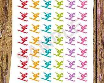 42 Ski Planner Stickers Ski Lessons Ski Stickers Functional Stickers Sports Stickers Rainbow Colors Sports Planner Stickers Winter Ski A164