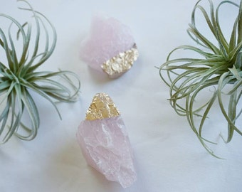 NEW! Gold Dipped Rose Quartz - Crystal - Home Decor - Office Decor - Quartz