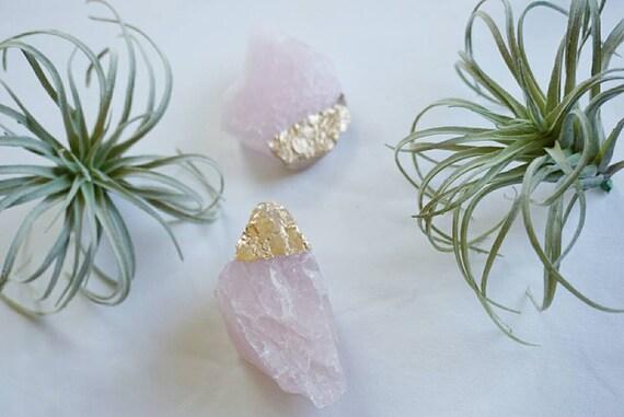NEW! Gold Dipped Rose Quartz - Crystal - Home Decor - Office Decor - Quartz