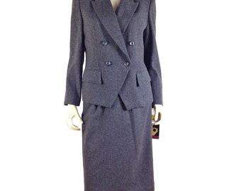 Vintage Clothing, 80s Wool Suit S M, Shoulder Pads, Gray Skirt Suit, Sassoon Suit, Double Breasted, 80s Blazer, Deadstock, SIZE S M 6 8 10
