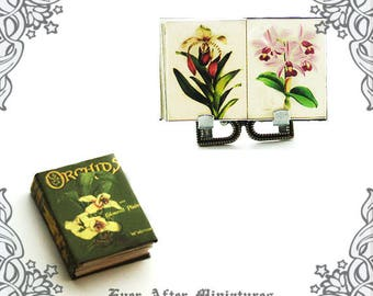 ORCHID Dollhouse Miniature Book – 1:12 DIY Printable Miniature Orchid Book Flower Miniature Book Doll House Flower Book – Printable DOWNLOAD