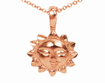 10k Rose Gold Sun Necklace