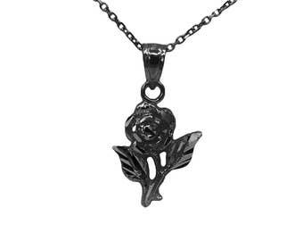 10k Black Gold Rose Necklace