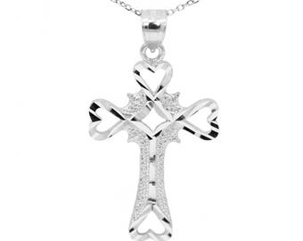 14k White Gold Cross Necklace Pendant