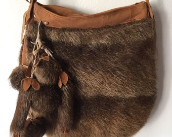 Brown crossbody women's handbag, from real muskrat fur & suede, fluffy fur, decorated with fur bubo, new handbag, size - large.