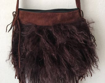Hand made lama fur shoulder bag , brown evening suede small bag .