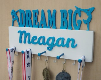 Personalized Gymnastic Medal Holder - Gymnast Tween Teen Girl Gift - Gymnastic Teen Room Decor - Glitter Dream Big - Choose From 4 Colors