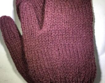 Hand knit alpaca mittens