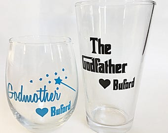 Godparent Gift Set (2), Custom Godparent Glasses, Personalized Godparent Glasses, Godmother Wine Glass, Godfather Pint Glass