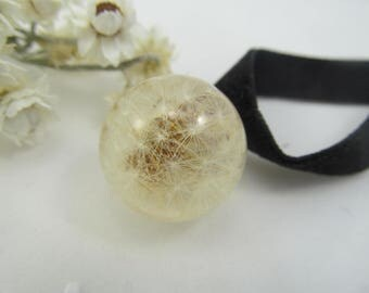 Dandelion resin, jewelry dandelion, choker dandelion, real dandelion, gift for daughter, dandelion sphere, jewelry resin, wish choker
