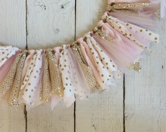Pink gold high chair banner, high chair banner , fabric garland