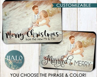 Christmas Cards - Married & Merry, Our First Noel, New Mr and Mrs, newlywed, holiday