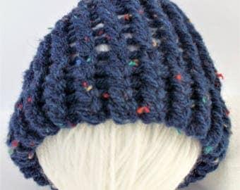 SUMMER SALE - Blue Aran baby hat, newborn baby hats, baby girl hat, baby boy hat, baby shower gift, baby gifts, sale, loomknit hat,