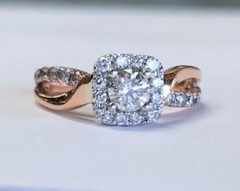 14k Rose Gold .75 CT Diamond Wedding Ring Hslo Setting Size 5