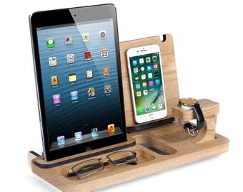 """Father's day Gift, Gift for Husband, Iwatch Ipad 10"""" & Iphone desk organizer, Gift for Boss, Docking station, personalized, Gift for men"""