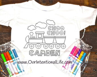 Boys Personalized Train Coloring Shirt With Markers