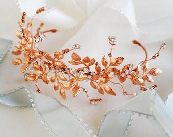 Rose gold leaf crown
