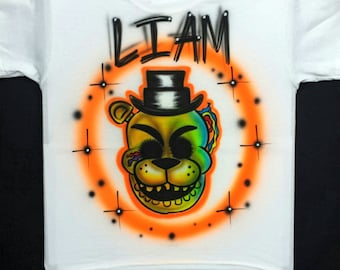 Airbrushed Five Nights At Freddy's Golden Freddy FNAF Inspired T-Shirt