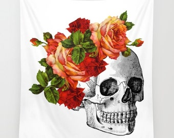 Skull Tapestry, Day of the Dead Wall Hanging, Red Roses, Flower Crown, Anatomy Skull, Dia de Los Muertos, Skeleton Decor, Human Bones