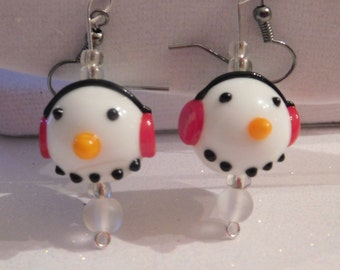 Glass Snowman Earrings * Lampwork Glass Snowman * Artisan Glass Jewelry * Winter Earrings * Cute Snowman Jewelry *