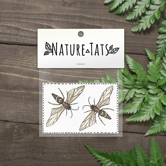 Wasp Temporary Tattoos, Collection of 2, Stinging Insect, Flying Bug, Nature Tattoo