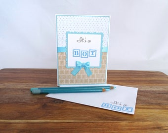 Its a boy new baby announcement card, New baby boy card, Newborn boy greeting card, It's a boy greeting card,  New baby boy baby shower card
