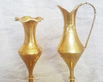 Miniature brass  vase and ewer,Vintage Brass, vase and pitcher, Vintage vase,Set of two, Brass vase,Ornate Vase,pitcher, brass pitcher,ewer,