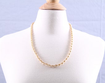 Vintage Gold-Tone Links and Faux-Seed Pearl Braid Necklace by Trifari