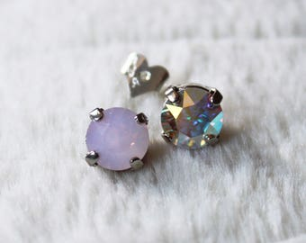 Swarovski Crystal Earrings - Round Crystal Studs / silver