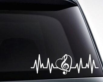 Treble clef heartbeat music note die cut vinyl decal sticker for car windows, laptops, etc. musician gift