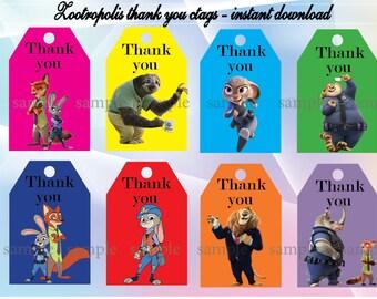 Instant DL Zootropolis thank you Tags- Zootropolis birthday, Zootropolis party, Printable Tags