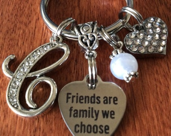 Personalized Friends Gift, Friend Keychain, Friend Gift, Friends Are Family We Choose, Gifts For Friend, Initial Jewelry, Friend Gifts