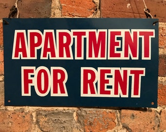 Vintage 'Apartment For Rent' Painted Metal Sign Decor Americana