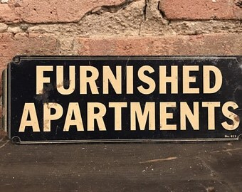 Art Deco 'Furnished Apartments' Metal Sign Rental Decor