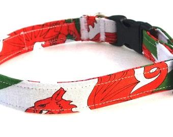 Dog Collar - Welsh Flag - Dragon Dog Collar  Dragon - Wales - Rugby Lover - Handmade Dog Collar - Fabric Dog Collar - Bow Collar - Dog Bow