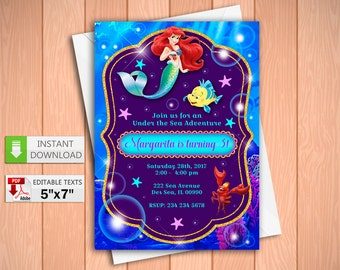 Printable invitation Little Mermaid party in PDF with Editable Texts, Princess Little Mermaid party Invitation, edit and print yourself!