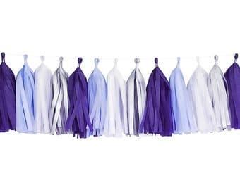 Purple + Lavender + White + Gray | Tassel Garland | Tissue Tassel Garland | FOLI + LO
