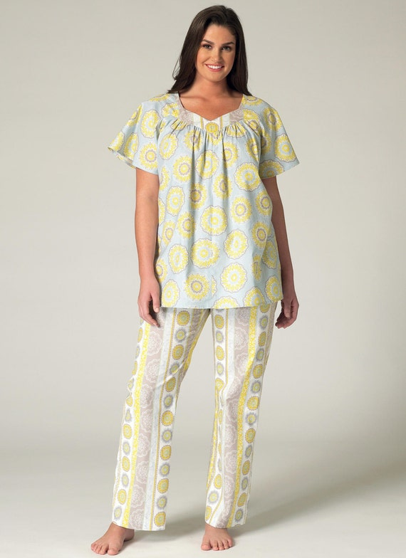 Sewing Pattern For Womens Plus Size Pajama Top, Nightgown -1625