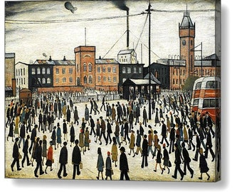 """LS Lowry """"Going to work"""" Canvas Box Art A4, A3, A2, A1 ++"""
