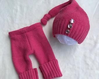 Upcycled newborn girls set, upcycled pink newborn set, pink newborn, pink photo prop, girls photo prop, upcycled photo prop, newborn photo